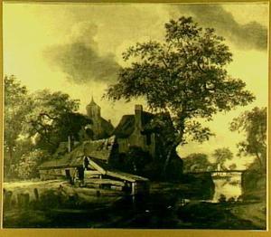 Landschap met dorp aan een vaart