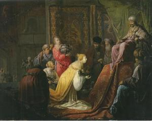 De koningin van Seba voor Salomo  (1 Koningen 10:2-3)