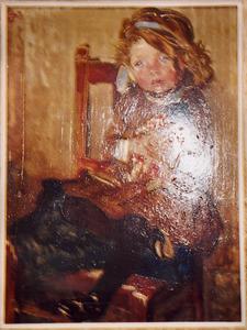 Portret van Corrie Bies (1905-....), met Chinese pop
