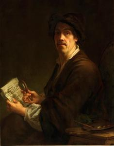 """Zelfportret met het """"Wienerisches Diarium"""" [Weens Dagblad] uit 1745"""