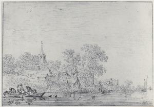 Dorp aan een rivier met vissersboten