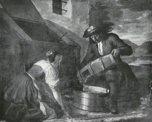Een visser levert een jonge vrouw levende vis