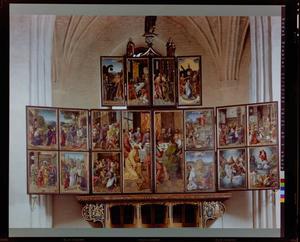 Christus en de Samaritaanse vrouw, de maaltijd bij Simon de Farizeeër (linker bovenluik); De ongelovige Thomas, de kroning van Maria (rechter bovenluik); Christus neemt afscheid van Maria, de intrede in Jeruzalem, de zuivering van de tempel, het verraad van Judas, Christus en de overspelige vrouw, Christus wast de voeten van Petrus, het Laatste Avondmaal (linkerluik); Het Laatste Avondmaal, de opstanding, de tenhemelopneming, de uitstorting van de Heilige Geest, de Genadestoel, de sacramentsverering, het Laatste Oordeel (rechterluik)