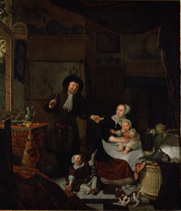 Interieur met een echtpaar en twee kinderen