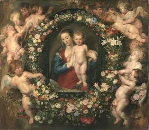 Madonna en kind in een bloemenkrans