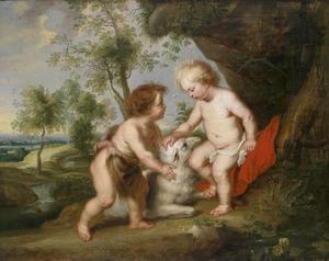 Christus en Johannes de Doper als kind in een landschap