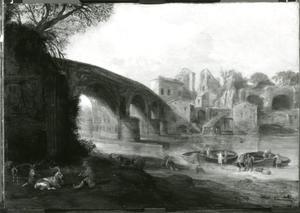 Italianiserend landschap met grote brug