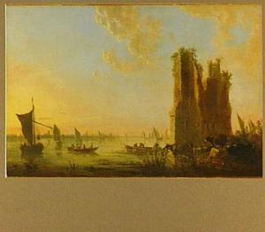 Riviergezicht met de ruïne van het Huis te Merwede; op de achtergrond Dordrecht