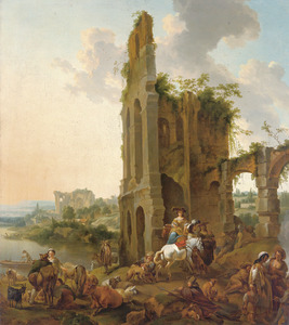 Zuidelijk landschap met jagers, reizigers en zigeuners bij een ruïne