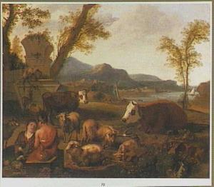 Zuidelijk landschap met twee herders en hun dieren
