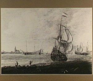 Driemasters en roeibootje voor de kust; links een kerk