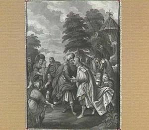 Jozef begroet Jacob en zijn familie bij Gosen (Genesis 46:29)