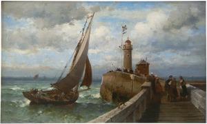 Vissersboot de haven van Boulogne naderend