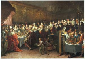 Tijdens het feest van Belsassar, waarop het tempelgoud wordt ontwijd, verschijnt een hand, die op de wand schrijft (Daniel 5)