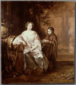 Portret van een vrouw en een page
