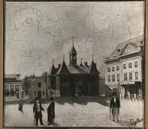 Het Leidseplein te Amsterdam met het Café du Theatre, de Leidsepoort en de Stadsschouwburg (De houten kast)
