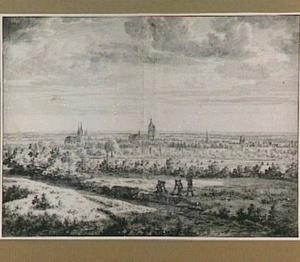 Arnhem gezien uit het noorden, vanaf een heuvel bij Sonsbeek