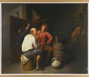 Rokende mannen in een herberg