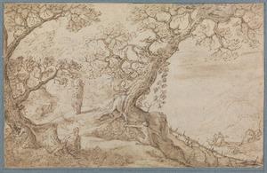 Landschap met het ontstaan van de Cornucopia en het vullen ervan door nimfen en saters