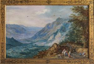 Bergachtig landschap met reizigers op een heuvelachtige weg
