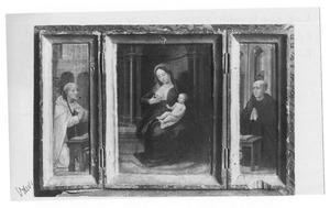 De H. Bernardus van Clairvaux (?) (links), Maria met kind (midden), de H. Benedictus (?) (rechts)