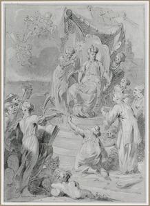De tronende Amsterdamse Stedenmaagd, omringd door allegorische figuren