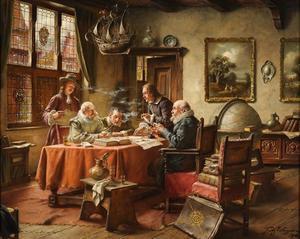 Rokende en drinkende mannen converserend aan een tafel
