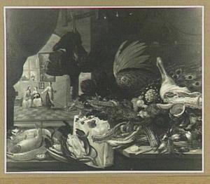 Keukenstuk met in de achtergrond Christus bij Maria en Martha