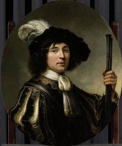 Portret van een man met gevederde baret en een vuurroer