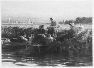 Waterdragers in een weiland met op de achtergrond Dordrecht