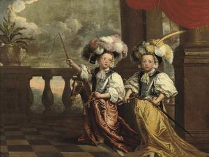 Portret van twee onbekende jongens verkleed als ridders