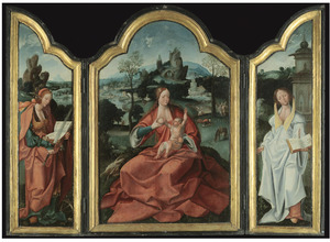 De H. Catharina (links), Maria met kind (middenpaneel), de H. Barbara (rechts)