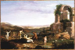 Arcadisch landschap met nimfen en een sater bij een ruïne