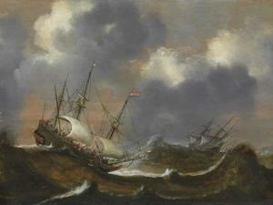 Zeilschepen op een stormachtige zee