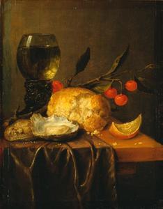 Stilleven met roemer, oesters, brood en kersentak