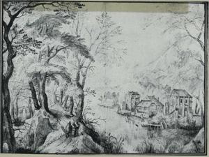 Landschap met de Christus en de twee apostelen onderweg naar Emmaus