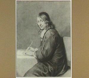 Portret van een zittende schrijvende man