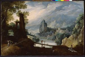 Berglandschap met Tobias en engel Raphael