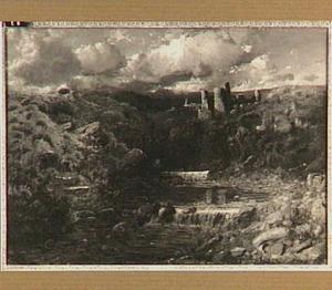 Heuvelachtig rivierlandschap met een ruïne