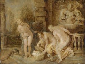De dochters van Cecrops vinden het slangenkind Erichthonius (Ovidius, Metamorfoses II: 552-561)