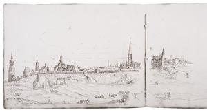 Antwerpen met de laatmiddeleeuwse stadsmuur en rechts de Sint-Joriskerk en de Sint-Jorispoort