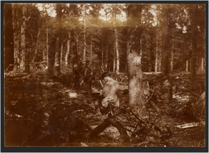 Nicolaas Bastert en Geo Poggenbeek schilderend in een bos (Sterreschans of OverHolland, Nieuwersluis), 1 juni 1896