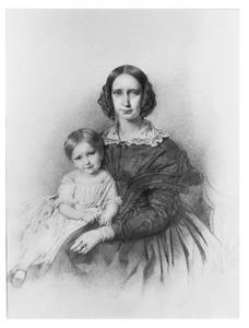 Portret van jonkvrouw Cornelia Elisabeth Teding van Berkhout (1816-1887) en haar dochter Ludolphine Cornelie van Valkenburg (1843-1869)