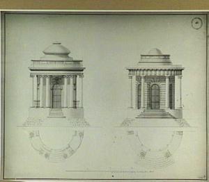 Ontwerp in twee varianten voor een rond tuinpaviljoen met rondom lopende colonnade