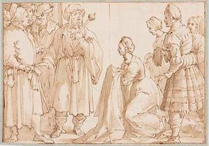Joseph wordt beschuldigd door de vrouw van Potiphar (Genesis 39-12)