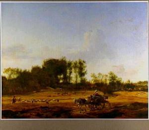 Weids duinlandschap met boerenwagen en vee
