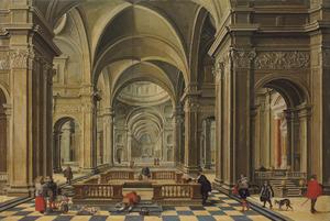 Interieur van een Renaissance kerk met bezoekers