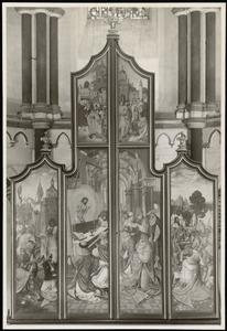 Abraham geeft Melchizedek een tiende van de buit, de Gregoriusmis, Christus geneest een melaatse (buitenzijde linkerluik); Christus geneest een melaatse, de Gregoriusmis, het verzamelen van de manna (buitenzijde rechterluik)
