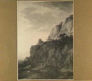 Rotsachtig berglandschap met enkele figuren