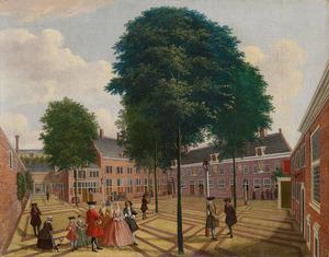 De grote binnenplaats van het Leprozenhuis in Amsterdam